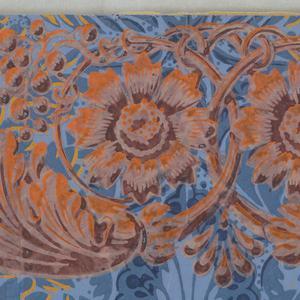 Horizontal rectangle. Foliage motifs in yellow overlaid by acanthus motifs in red-orange, on an irisé, or rainbow, patterned field.