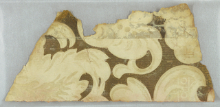 Scrolling foliage and floral design. Printed in brown and tan.