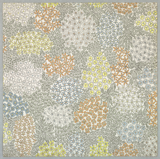 Clusters of small floral motifs tightly arranged in amorphous shapes. Printed in slate blue, light yellow, light gray, pale peach and black on white ground.