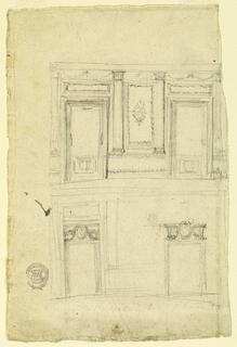 Two elevations of a room. At top, two doors flank a central bay decorated with columns and swags. At bottom, two doors with overdoor medallions.