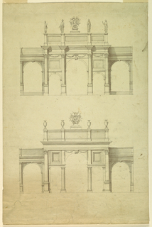 Top design shows five arches with Corinthian columns, festoons and statues flanking the badge of the Legion of Honor showing the head of Napoleon. The bottom design shows a Palladian archway with Doric columns, Corinthian pilasters, vases, and the badge of the Legion of Honor with an eagle facing left.