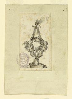 Bottle form with two loosely drawn angel figures.  Flame burning at top.