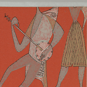 "Sample from a Wallpaper Sample Book entitled: ""Kunstler Tapeten"", which was deaccessioned. [See record for deaccessioned sample book under the accession number: 1960-116-1-u.] The original sample book contained color variations by various artists including Bele Bachem, Arnold Bode, Jean De Botton, Letizia Cerio, Salvador Dali, Lucienne Day, Cuno Fischer, Martin Freyer, Bent Karlby, Elsbeth Kupferoth, Alfred Mahlau, Raymond Peynet, Herbert Pridohl, Astrid Sampe, Renee Sintenis and Otto Steinert.  This sample is a New Orleans scene of musicians with Instruments."