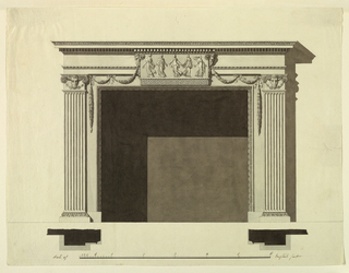 The fireplace is framed by moldings and stripes. Fluted pilasters are laterally. Ramheads with blossom festoons are in the capitals. Above is a high entablature with an unornamented frieze. In the center in front of the lower part of the entablature and the stripe above the opening is a relief with the five dancers as in 1938-88-8202 without the pilasters. A greek band is below the relief. Ramheads are shown in profile laterally at the upper corners. They support festoons, which hang in the framing stripes. Shadow, base line, planes, scale as in 1938-88-8196.