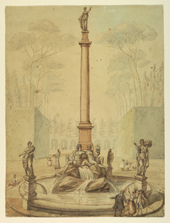 A tall column crowned by an allegorical figure (Astronomy?). At its base, upon rocky stones sit two figures (Hephaestus and Venus?). Along the edge of the fountain are four pedestals with figures of women holding cornucopias, the one at left inscribed with POM[ona]. In the foreground at right, a clergyman, a lady, a gentleman converse in front of the fountain.