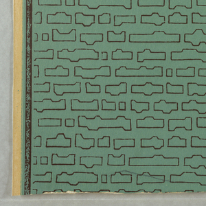 """Rows of vertical sticks are distributed over the surface. These sketches are inserted through small balls at their tops. A series of circles, some broken, are scattered over the background. Printed on reverse side: """"6369DOriginalentwurf. Architekt A. Welk."""" Printed in blue, violet, green, pink and olive on pale olive field."""