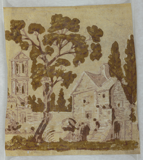 "House and tree in foreground, church tower in background. In brown, green and white on a light green ground. Fragment of a bandbox. Note on verso: ""Given to Carolena Maley Stickle, May 29, 1935 by Mrs. George Edward Follensbee of 615 Miles Ave., Cleveland, Ohio""."