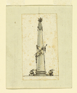 An obelisk with a star on top. Around are garlands and small urns with burning flames.