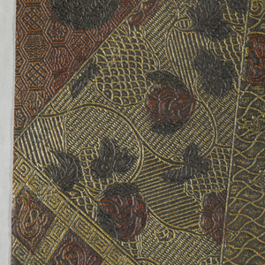 Random arrangement of adjoining geometric shapes - triangles and irregular polygons, each with a different embossed field. Some of the polygons have, in addition, further ornamentation in the form of decorated roundels, flowering stems, small dragons and cloud bands, respectively. Anglo-Japanesque design.