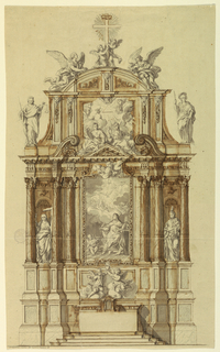 """Vertical composition of an altar. The front of the mensa is not decorated. The image represents a writing Dominican nun having a vision. Below the image there are two angels, raising a burning heart. Six figures represent different themes. In niches """"Faith"""" stands on the left and """"Love"""" on the right. """"Prudence"""" and """"Temperance"""" sit above on the center pediment. Beside the pediment wall stands """"Justice"""" on the left and """"Force"""" on the right. Above the pediment there is a representation of the holy triangle in a glory. This is the central panel of a pediment wall with a circle above with two angels in the center and two small angels supporting the cross on top."""