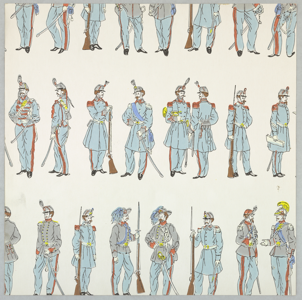 Horizontal rows of 19th century soldier-figures in dress uniforms. Some hold rifles with or without bayonets. Others hold sabers, a trumpet, dispatch, etc. Printed in light blue, light gray, royal blue, yellow, red, black and brown on white ground.