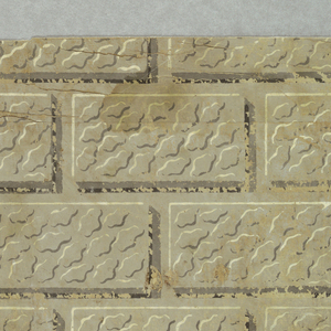 Very abraded ashlar block pattern, printed in two shades of brown and off-white on tan ground.