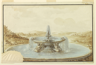 Fountain set in a landscape. A shallow basin with dolphins is supported by sphinxes with fishtail legs. Water flows into a larger basin. Broad framing lines.