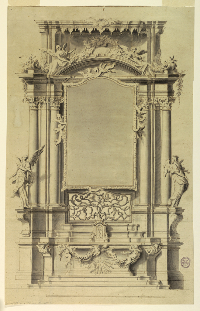 The mensa is draped with festoons and is supported by two flying angels. In front of the sepulcher are three balls in a glory of rays. A cherub below.  The tabernacle has two adoring angels upon lateral volutes. At top, a flat frame with lambrequins.