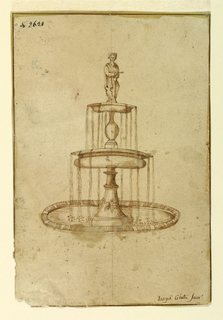 Water pours from two bowls into a round basin. Indistinct classical figure stands atop.