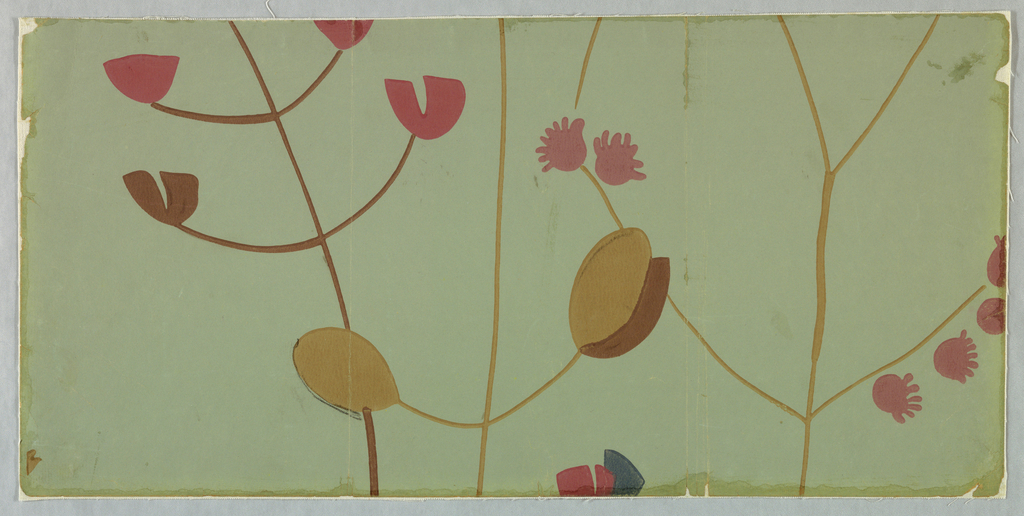 "Flowering branches have the appearance of being roughly sketched over surface in an assymetrical arrangement. Printed on reverse side: ""1761-24 Gruppe 549, Lichtbestandig."" Printed in mauve, red, plum and tan on green field."