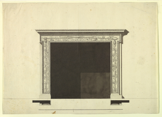 "Below are bases. Upon them stand upon plinths a frame in TT form, and a receding vertical stripe on either side. The grame has inside a molding with an ovolo and a row of heads. It is decorated with a tyrsi surrounded by vine. They stand at the sides; two of them are fastened by a bow knot, above. On top are the cornices of an entablature. The measurements of the height of the bases and the stripes and of the width of the opening are indicated with graphite as ""3 - 2"" and ""4 - 6 1/2"", respecitvely. Plans and scale similar to 1938-88-8199.  Traces of framing. Base line, shadow lines at the edges."