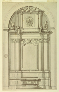 Elevation of an alter shown within an arch. At top, a broken pediment with angels holding festoons. Below, within a tablet is a radiant crown within a wreath. On either side, sculptures sit on an entablature. An undecorated tablet at center, flanked by engaged columns and pilasters.