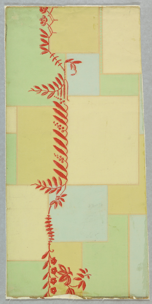 "The field is composed of overlapping rectangles of various sizes. At intervals, a horizontal vine of leaves and flowers extends entirely across the paper. This vine is printed in bright vermilion. Design printed in shades of green, blue and gold with vermilion. Printed on reverse side: ""No. 453-03-86 Gruppe 524""."