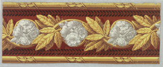 Main central band consists of gathered white flowers entwined in rinceau of large ocher laurel leaves. Band of petite black leaves on either side of rinceau. Leaf-wrapped rod along either edge. Rust-colored flock background.  H# 295