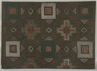 Checkerboard pattern of geometrical compartments ornamented with foliate forms and connected to one another by strapwork. Black field washed with brown. Parts of the design have been painted in red, green and other colors.
