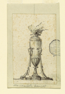 The flame burning in a vase, standing upon a base with two draped legs terminating in ram heads.