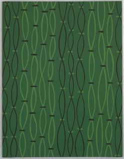"Vertical ""strands"", resembling strung beads, printed in black and light green on medium green ground."