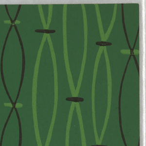 """Vertical """"strands"""", resembling strung beads, printed in black and light green on medium green ground."""