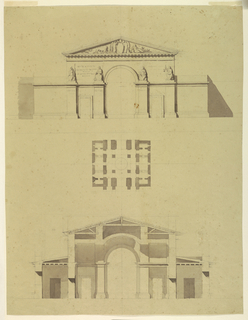 Drawing, Designs of Two Projects for a Town Gate, ca. 1820