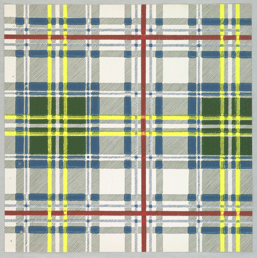A bold plaid pattern, printed in cerulean blue, zinc yellow, dark green, crimson on white.