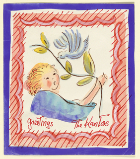 Enclosed in a border, a child holds a branch with leaves. A bird flies above.