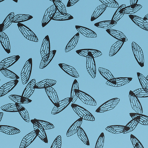 All-over pattern of insect or fly wings, printed in black on a medium blue ground.