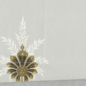 Horizontal rectangle. Drop-repeating motif of palmette in gilt, with brown center and white foliate surround.