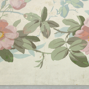 On white ground, pale pastel-colored full-blown roses, blue and pale green leaves on a sparse, continuous vine.