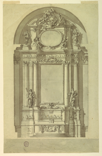 Elevation of an alter under an arch. At top, a broken pediment with a figural group on a cloud. Below, two angels frame a blank oval.  Below, a vertical rectangle is flanked by double columns and sculptural figures.