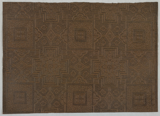 Checkerboard pattern of geometrical compartments ornamented with foliate forms and connected to one another by strapwork. Black field washed with brown.