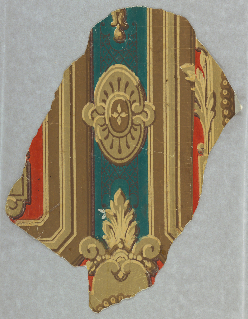 Fragment of papers with badly matched joins, showing an architectural arrangement of panelling with two cartouches.