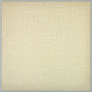 A rectangular and conical pattern articulated by embossed pigment. Printed in beige and off-white.