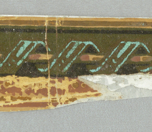 c) Simulates a draped lambrequin held up by gold ornaments with a gold molding top and bottom. Printed in green, gold and gray; d) wider central band contains a rod and ribbon twist. Gold band along top edge. Band of strung beads below, alternating large and small. Narrow band of sawtooth edge along very bottom. Printed in green flock, green, metallic gold, yellow ocher and salmon-color.