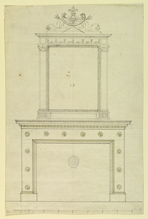 Elevation of a mantelpiece. Aedicule frame with dolphin and trident crest. Twelve rosettes on fireplace surround. Scale below.