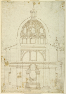 Cross section of a church with a cupola, S. Tommaso da Villanova at Castelgandolfo. The altar with the frame of an oval painting supported by angels. Above the entablature the star and mountains, charges of the coat of arms of Pope Alexander VII. Two evangelists sitting upon clouds. On the roof, at right, the bell gables.