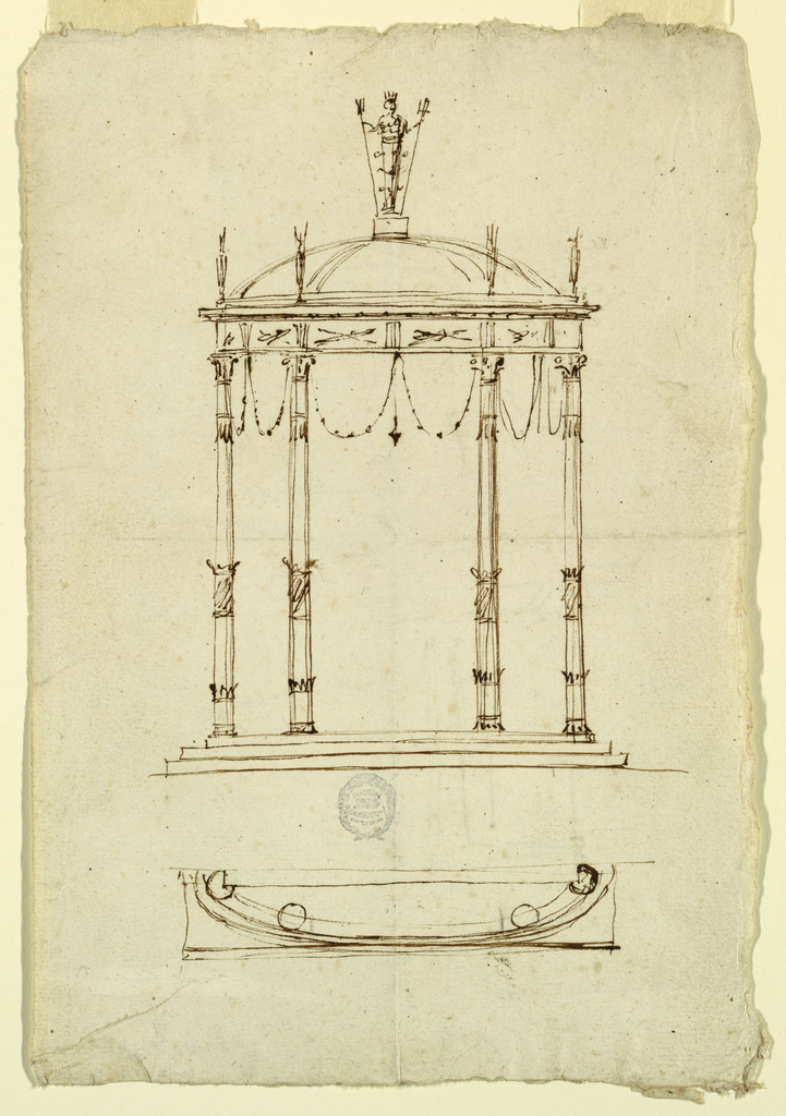 Elevation of pavilion in the Pompeian style with thin columns. Plan below.