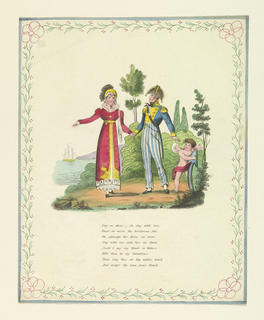 Folio. Man in naval uniform at right, holds hand of woman who gestures toward sea.  A ship is seen to left.  Cupid at right, holds part of an anchor.  Foliage in background. Eight lines of verse below. Decorative border.