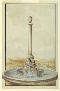 In the center of a wide, low basin stands a column topped with a canopic jar. At the base sit two Egyptian figures with water flowing from their mouths.