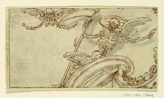 Horizontal rectangle showing a winged skeleton with a scythe sitting upon the cornice of a broken pediment. Upper left, festoons hang from a winged skull.