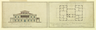 Drawing, Design for the Front Elevation and Ground Plan for a Villa, ca. 1790