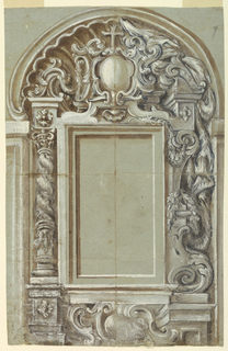 Vertical rectangle. The designs are different in the left and right halves. The mensa is supported by scrolls. Plain moldings form the oblong retable frame. An escutcheon crowned by a cross rises on top in front of a shell at left of an architectural background of a column, at right. A twisted column is shown at left, a volute and a baluster, at right.