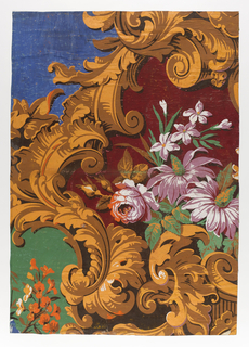 Part of a large repeat showing a spray of roses and other flowers on a red ground, framed by foliate cartouches, with blue and green grounds outside blue and green enframement.  Continuation of repeat on 1954-23-11 and -13.
