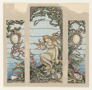 Central panel. Mermaid sits in underwater scene with head bowed, and looks into a seashell. Seaweed curves above in arched top as two fish swim above the mermaid.