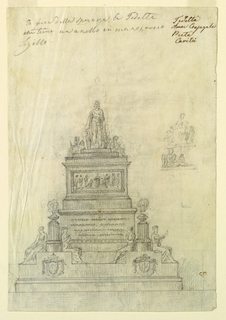 Design for a large monument. At the base, two coat-of-arms and pairs of seated female figures flanking smoking braziers. Between them, an illegible inscription and frieze. Above, a standing female figure with putti or children.